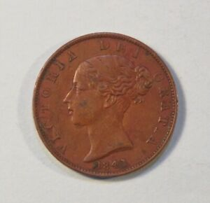 1841-Great-Britain-1-2-Half-Penny-Copper-Coin-UK-England-Queen-Victoria
