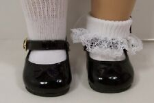 Mary Jane Shoes for 18 inch American Girl Dolls Black Patent Rose Trim Retired