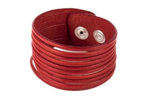 Femmes Bracelet en Cuir Ruban Cuir Bracelet Coupés large Rouge en Cuir Véritable fair trade