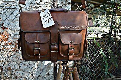 Men/'s Genuine Vintage Leather Messenger Mack book Shoulder Laptop Bag computer