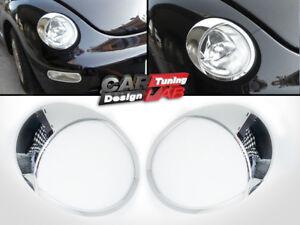 Chrome-Headlights-Lamp-Eye-Lid-Brows-Eyelids-Cover-For-1999-2005-VW-New-BEETLE