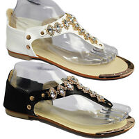 WOMENS LADIES GLADIATOR WEDGE HEEL FLAT SUMMER BEACH FLOWER DIAMANTE SANDALS