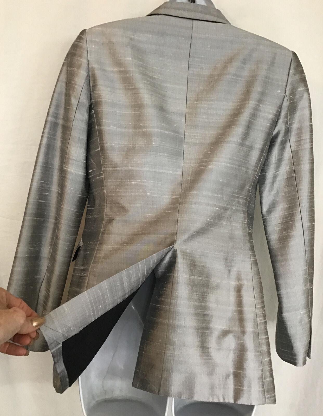 rag and bone  Suit Jacket silver gray silk peak s… - image 7