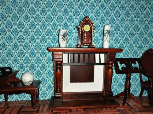 1//12th Scale Victorian Blue Dolls House Wallpaper 180gsm Matte Photo Paper