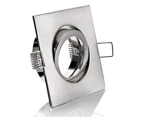 Einbaustrahler Eisen gebürstet 4-eckig Bajonettverschluss schwenbar viereckig