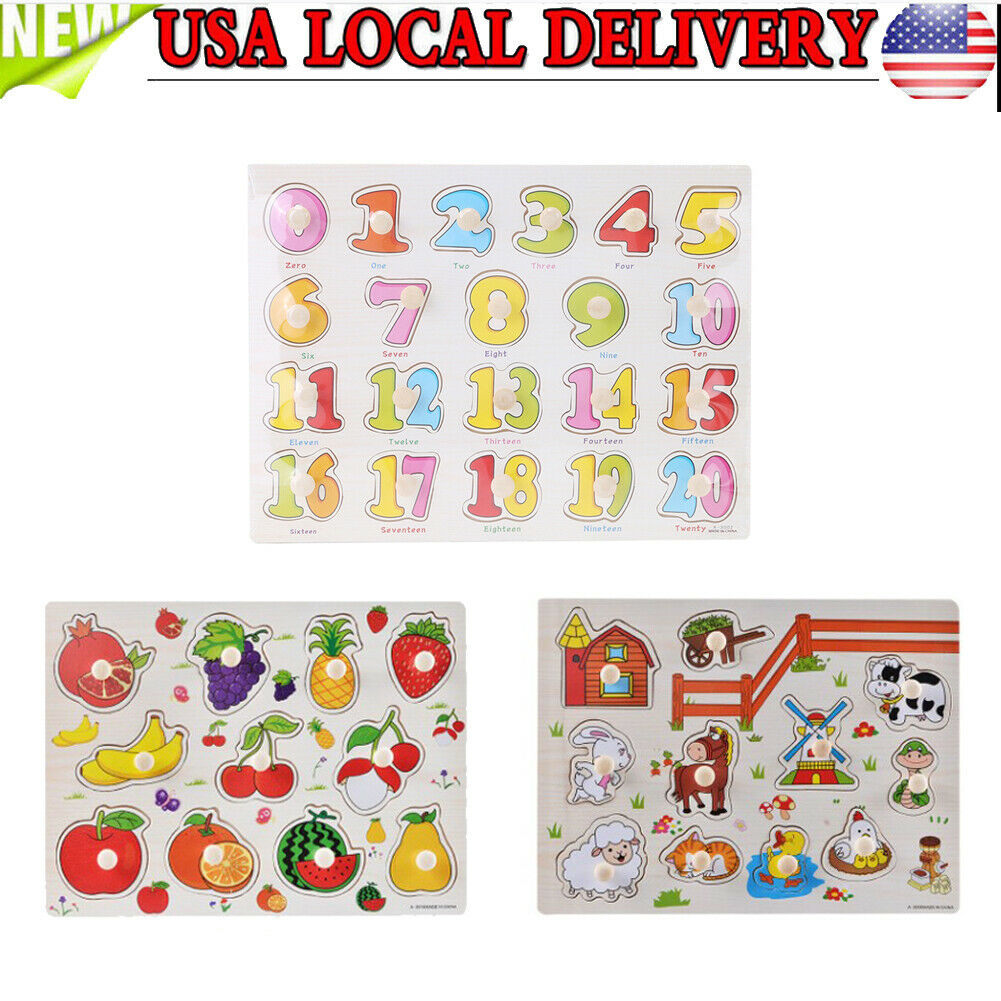 Knob Kids Baby Wooden Animal  Fruit Puzzle Numbers Learning Educational Jigsaw 4