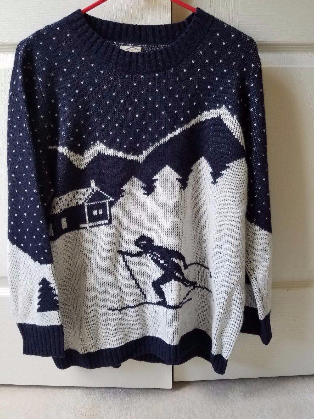 J.Crew Intarsia ski scene sweater Size L