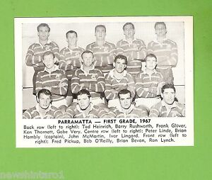 #D166. 1967 DAILY MIRROR CARD - PARRAMATTA TEAM PICTURE