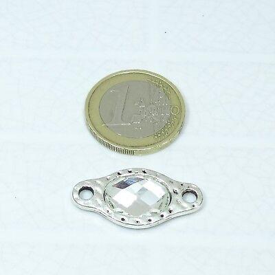 9 Abalorios Para Pulsera 28x14mm  T599C Plata Tibetana Con Cristales Perline