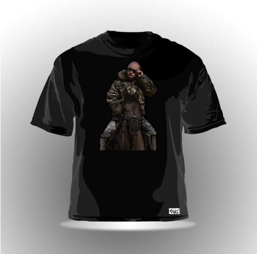 """EAKS® Herren T-Shirt /""""WLADIMIR PUTIN AUF PFERD/"""" schwarz Russland Russia Moskau"""
