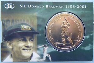 2001-Australia-Sir-Donald-Bradman-5-Bronze-UNC-Coin-in-Folder