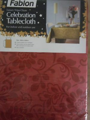 NEW FABLON LUXURY RED DAMASK CELEBRATION EASY CLEAN TABLE CLOTH INDOOR & OUTDOOR