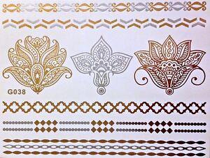 Flash-Einmal-Temporary-Klebe-Tattoo-Gold-Silber-8teile-Henna-Armband-Kette-G38