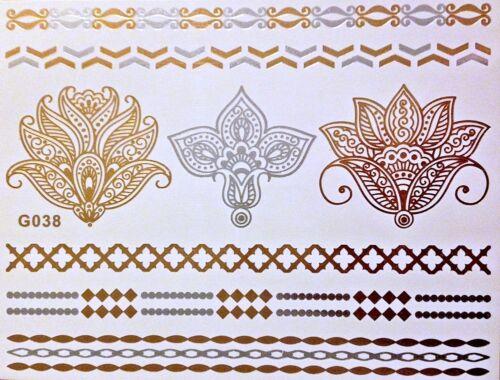 Tattoo Einmal Flash Klebe Temporary Metallic Gold Silber 8teile Armband WOW G38