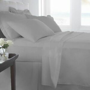 800-1000-1200-TC-Egyptian-Cotton-UK-Bedding-Items-All-Sizes-Silver-Grey-Solid