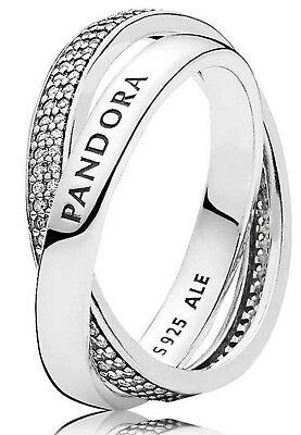 New Genuine Silver Interlocked PANDORA Promise Ring 196547CZ RRP £90