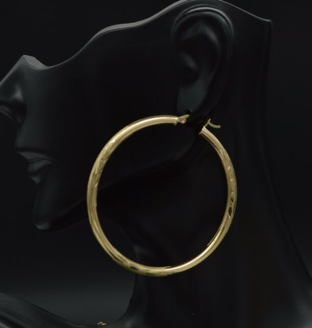 14k White Gold 1mm Diamond-Cut Endless Hoop Earrings 80mm
