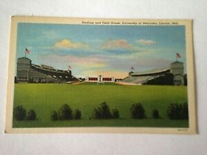 Vintage-Linen-Postcard-University-Of-Nebraska-Lincoln-Stadium-amp-Field-M1