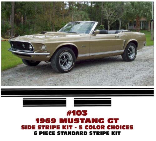 103 1969 FORD MUSTANG GT LOWER ROCKER SIDE STRIPE KIT STANDARD Car ...