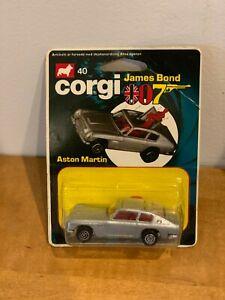 1979-Mettoy-Corgi-Junior-de-James-Bond-007-plateado-metalico-tarjeta-Aston-Martin-BD6-W