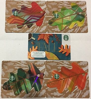 Lot 5 Starbucks Fall Leaves Die Cut Gift Card Set 2016 Edition Ebay
