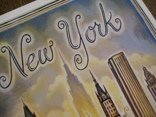 """New York B2G1F United  Airlines 11/"""" x 17/"""" Collector/'s Travel Poster Print"""