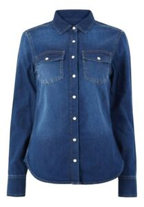 Women-039-s-Marks-and-Spencer-Per-Una-Blue-Denim-Shirt-With-Patch-Pocket-RRP-35