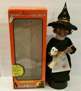 """Vintage Telco Halloween Motionette Witch Skull Sound Light 17"""" 1989 Animated"""