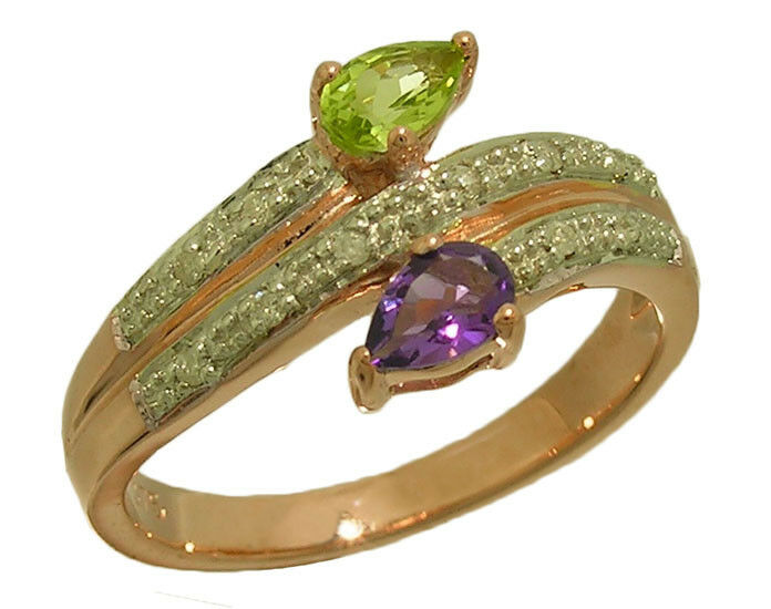 R218 Genuine 9ct, 10K 18K gold Natural Peridot Amethyst Diamond Suffragette Ring