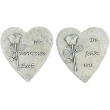 """/'Grabschmuck Grab Deko Herz mit Rose /""""Liebe bleibt ewig* hell antik 10 cm"""