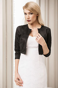 New Womens Black Taffeta & Lace Bridal Wedding Bolero Jacket Shrug Wrap S-XL