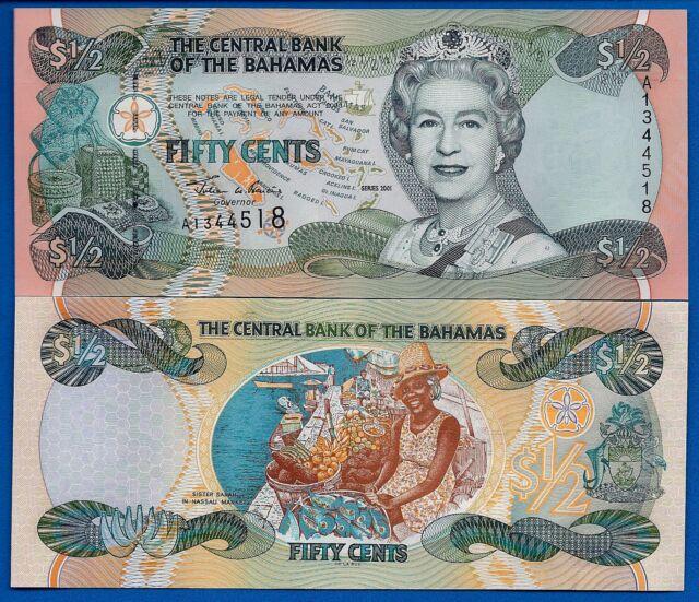 Bahamas P-68 One Half Dollar 2001 Queen Elizabeth II Uncirculated