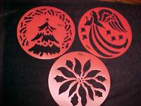 Christmas Stencils Wilton Cake Or Decorating 3 Templates Tree Poinsettia Angel