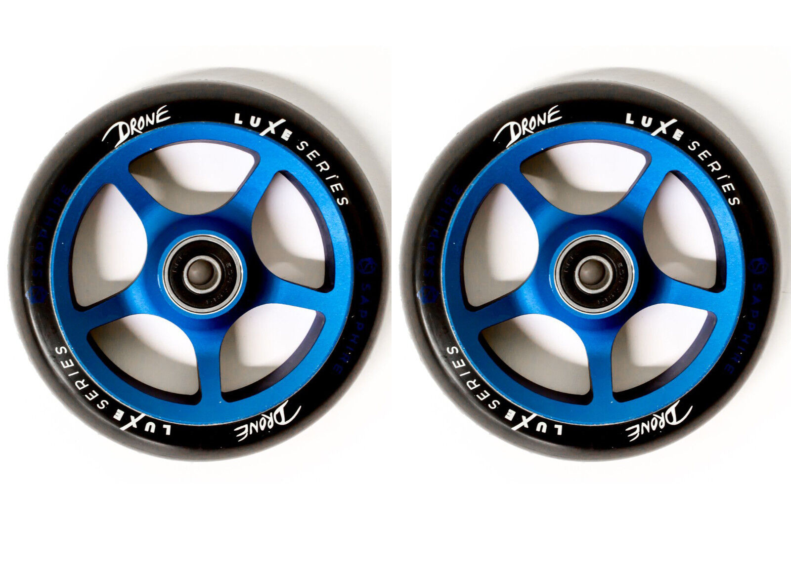 Drone Luxe Stunt Scooter Wheels 120mm Pair + Bearings - - - Sapphire acbb16
