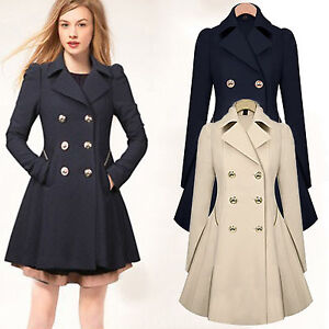 Women Slim Double Breasted Trench Coat Jacket Ladies Long Lapel ...