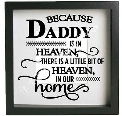 BECAUSE MUM IS IN HEAVEN Inspirational Vinyl Decal Sticker Ribba frame DIY
