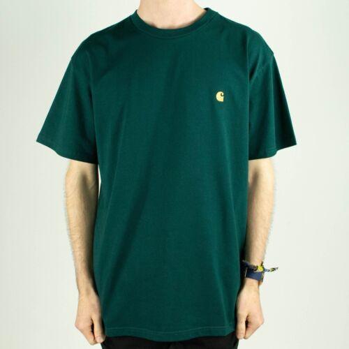 Carhartt Chase Short Sleeve T-Shirt Tee in Dark Fir Green//Gold in size S,M,L,XL