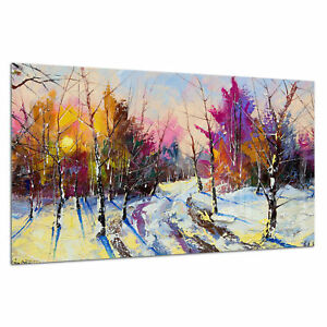 Tempered-Glass-Photo-Print-Wall-Art-Picture-Oil-Paint-Snow-Forest-Prizma-GWA0357