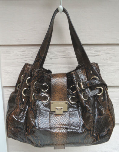 New $2050 Jimmy Choo Ramona Large Leather Snake Embossed Shopper Browns by Jimmy Choo