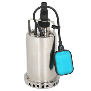 1HP Stainless Steel Submersible Pump Sump Dirty Clean Water Pump w/26ft Cable