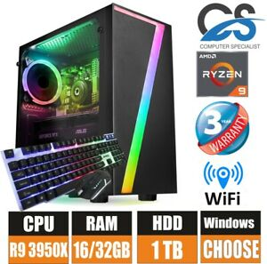 Atención al cliente-Escritorio PC para juegos AMD ryzen 9 3950X 16 Core 32GB Ram DDR4 1TB HDD Windows 10