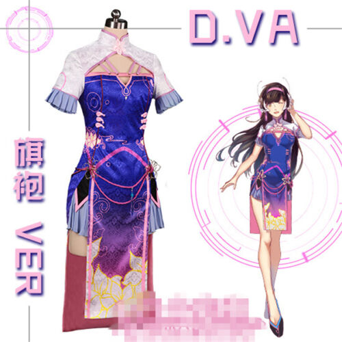 New Clothing Hot Game D.VA Cheongsam Beautiful Dresses Cosplay Costome Cos Dress