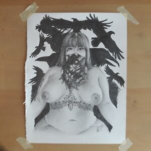 Original 8.5x11 Inch Pencil Drawing Of Nude Woman Done By ARTuro