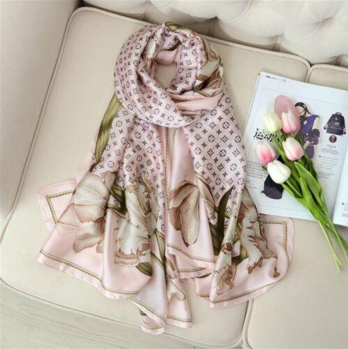 Women Stylish 100/% Silk Clover Pattern Featuring Floral edges Scarf Shawl