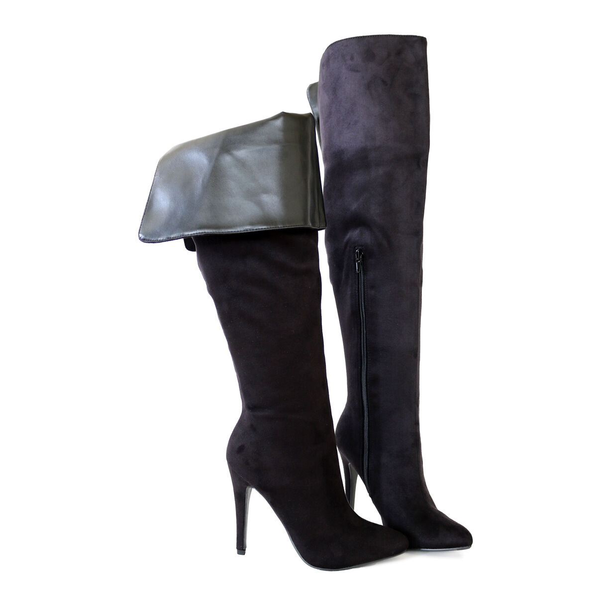 Chic Sexy Stiletto Heel  Cuff Down or Suede Thigh Over The Knee High Boots Black