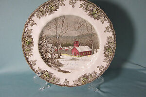 Image is loading 2-Dinner-Plates-10-in-School-House-The- & 2 Dinner Plates 10 in School House The Friendly Village Johnson Bros ...