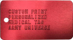 Red Medical Alert Tag Custom Print Health ID Medic Embossed Metal ... 9dbf5f33c46