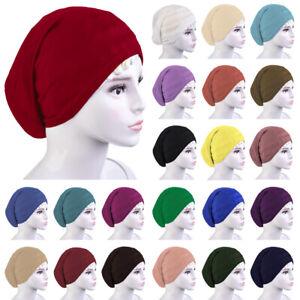 3f926eb0e5c Muslim Women Hijab Turban Solid Color Soft Beanie Islamic Pile Cap ...