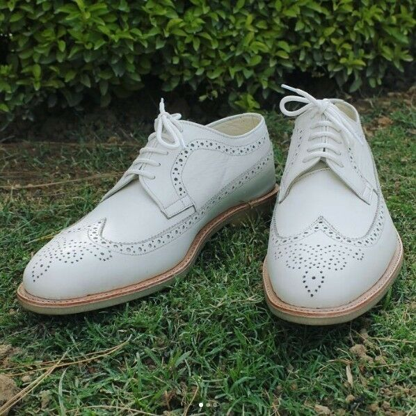 Handmade uomo white leather shoes, uomo wingtip brogue shoe, crepe sole shoes uomo Scarpe classiche da uomo