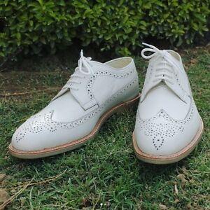 Handmade men white leather shoes, men